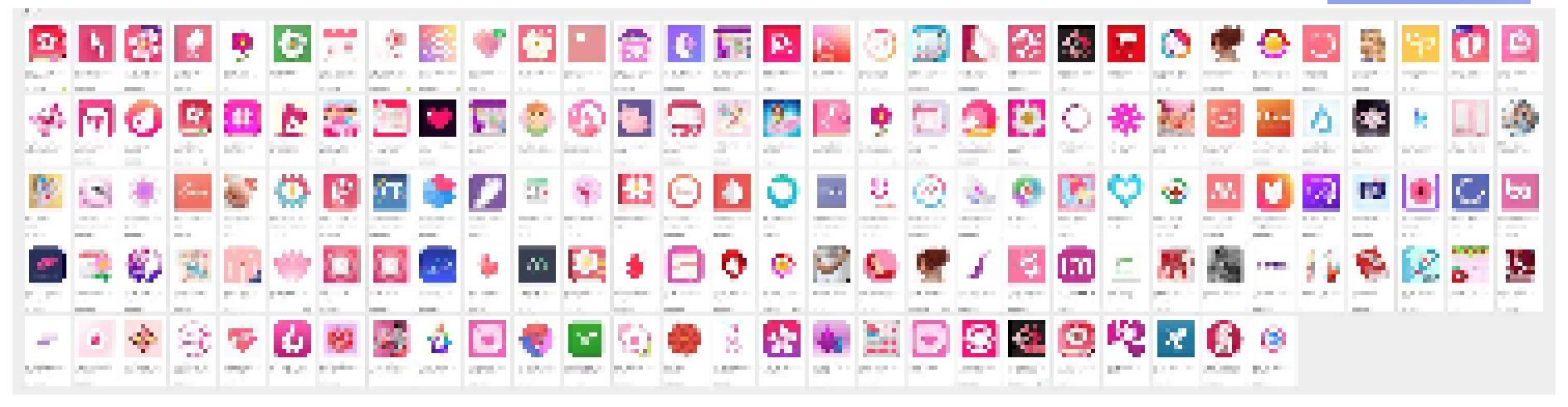 pixelated screen cap of pink menstruation apps