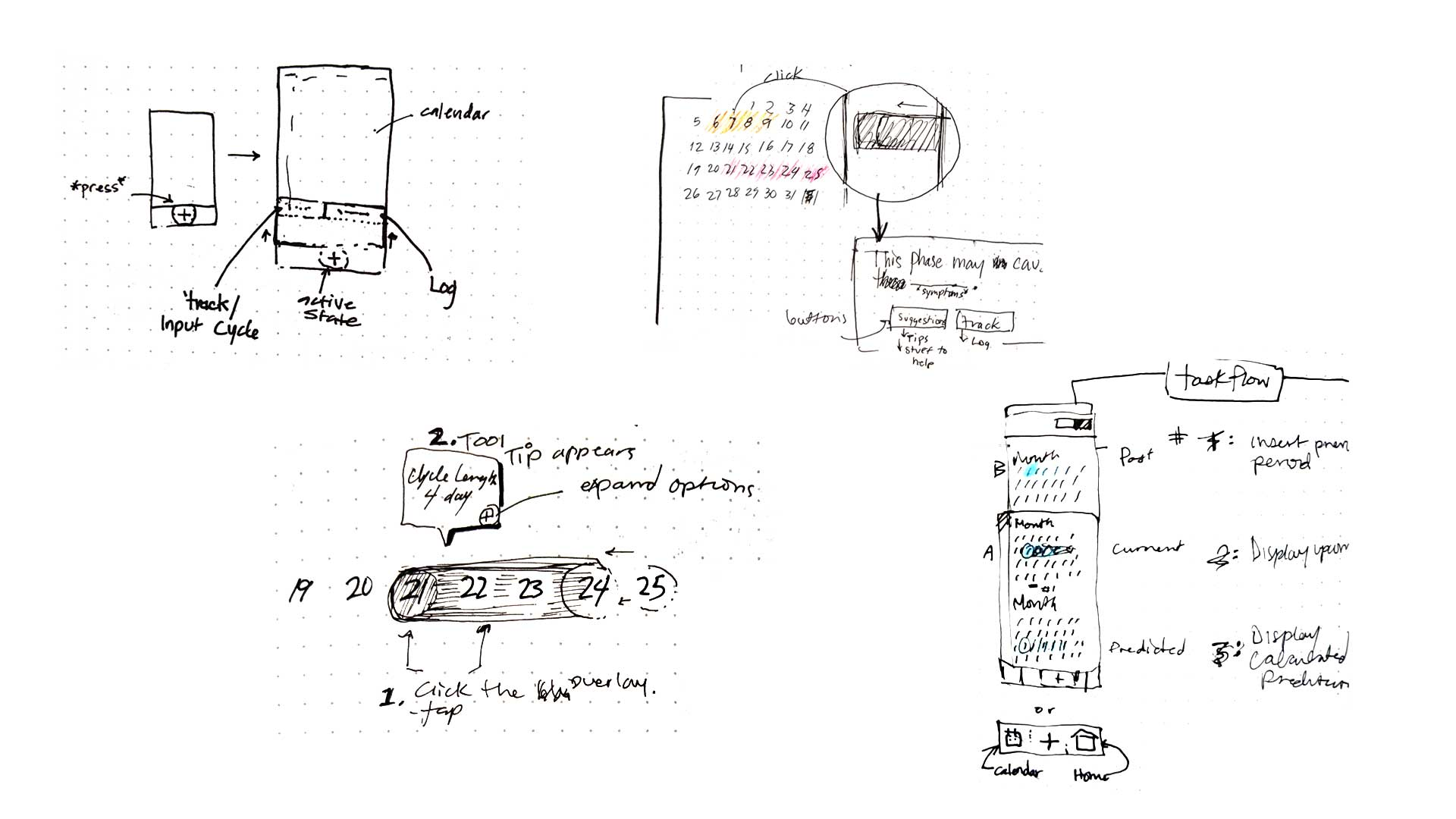 ui sketches in black and white